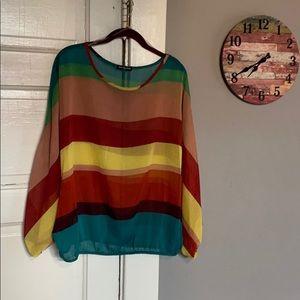 Women's Cha Cha Vente sheer blouse  size large.